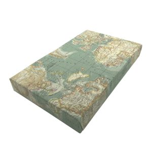 blue vintage mixed up world map cushion lid 525x325x65