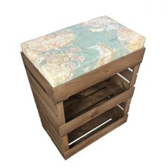 Rustic Double Drop Front with shallow Cushion Crate and Cushion 525x325x670