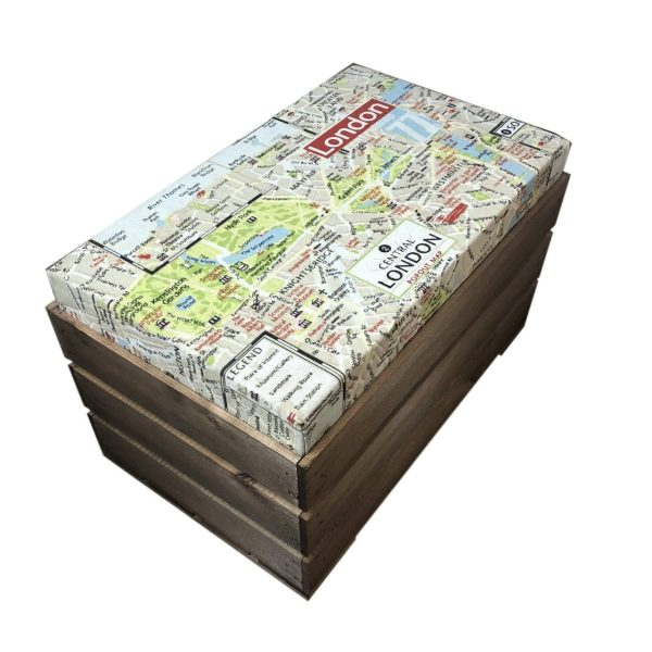 london map Rustic Cushion Seat Crate with Cushion