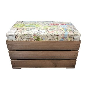 london map cushion seater crate with cushion 525x325x325 side view