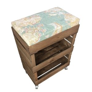 Mobile Rustic Double Drop Front with Shallow Cushion Crate and Cushion 525x325x740
