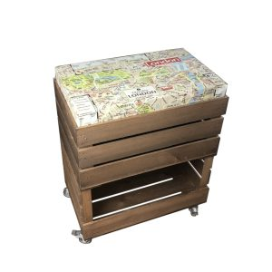 Mobile Rustic Cushion Seat Crate with Drop Front and Cushion 525x325x640