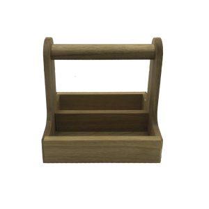oak cutlery caddy 255x195x245 side view