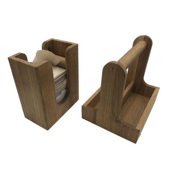 oak cutlery caddy and napkin dispenser set