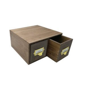 rustic brown Double Bread Bin with Wood Drawers & Ticket Handles