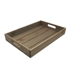 rustic brown rustic slatted tray 450x300x60
