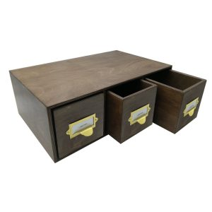 rustic brown Triple Bread Bin with Wood Drawers & Ticket Handles