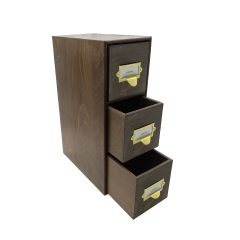 rustic brown triple bread bin 495x310x170 with wood drawers and brass ticket handles upright