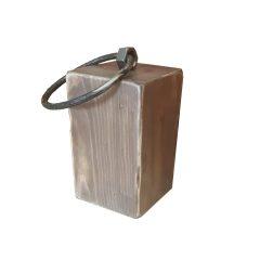 rustic wooden doorstop with iron ring handle 145x145x235