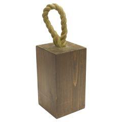 rustic wooden doorstop with rope handle 145x145x235