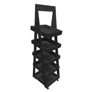 Black Mobile Flat Pack painted 5-Tier Slanted Wooden A-Frame Display Stand 486x530x1765