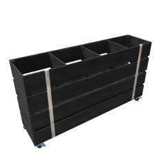 Black Mobile painted 4 Bin Impulse Merchandise Display Stand 1200x300x640