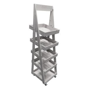 Gretton Grey Mobile Flat Pack painted 5-Tier Slanted Wooden A-Frame Display Stand 486x530x1765