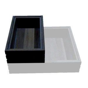 Hospitality Trolley Ribbed Black Oak Stacker Box 364x215x85 stacked