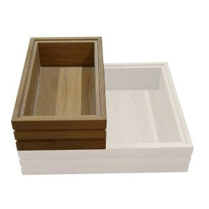Hospitality Trolley Ribbed Lacquered Oak Stacker Box 364x215x85 Stacked