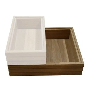 Hospitality Trolley Ribbed lacquered Oak Stacker Box 393x364x85 stacked
