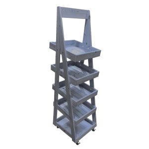 Kingscote Blue Mobile Flat Pack painted 5-Tier Slanted Wooden A-Frame Display Stand 486x530x1765