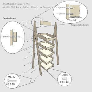 Mobile Flat Pack 5-Tier Slanted Wooden A-Frame Display Stand 486x530x1765 construction guide