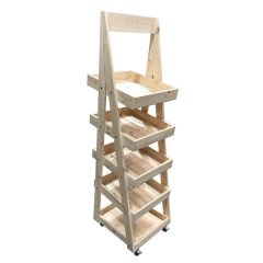 Mobile Flat Pack Rustic 5-Tier Slanted Wooden A-Frame Display Stand 486x530x1765