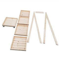 Mobile Flat Pack Rustic 5-Tier Slanted Wooden A-Frame Display Stand 486x530x1765 unassembled