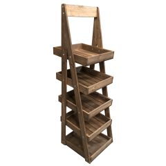 Mobile Flat Pack Rustic Brown Rustic 5-Tier Slanted Wooden A-Frame Display Stand 486x530x1765