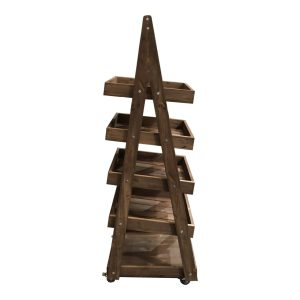 Mobile Flat Pack Rustic Brown Rustic 5-Tier Slanted Wooden A-Frame Display Stand 486x530x1765 side view