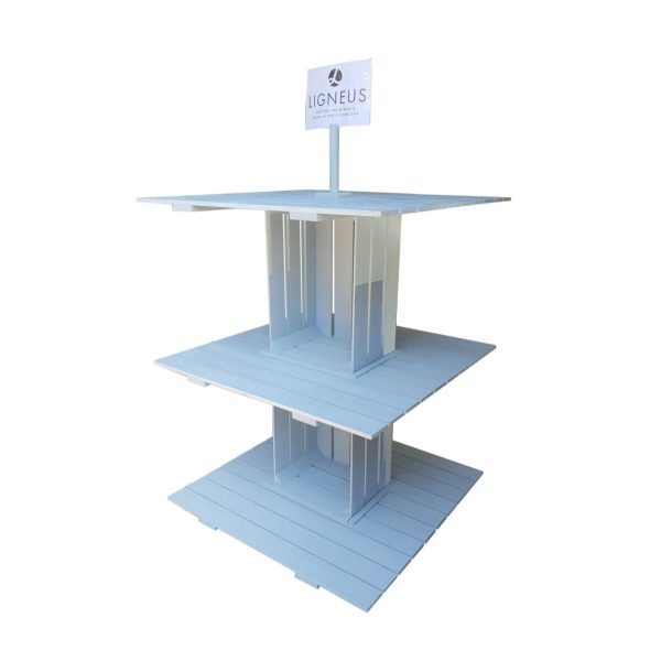 Nailsworth Blue Painted 3-tier modular display stand 1000x1000x1260