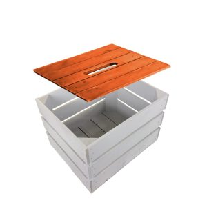 Orange Painted crate lid 300x370x18 on gretton grey painted crate