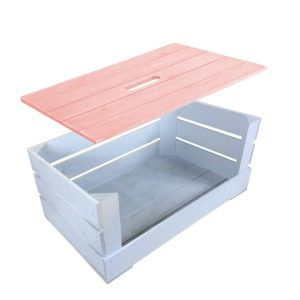 Pink Painted crate lid 600x370x18 on nailsworth blue drop front