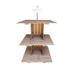 Rustic Brown Rustic 3-tier modular display stand 1000x1000x1260 front view