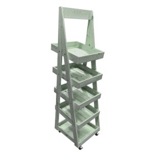 Tetbury Green Mobile Flat Pack painted 5-Tier Slanted Wooden A-Frame Display Stand 486x530x1765