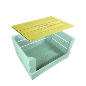 Yellow Painted crate lid 500x370x18 on frampton green drop front