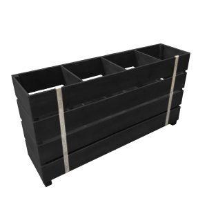 Static black painted 4 Bin Impulse Merchandise Display Stand 1200x300x640