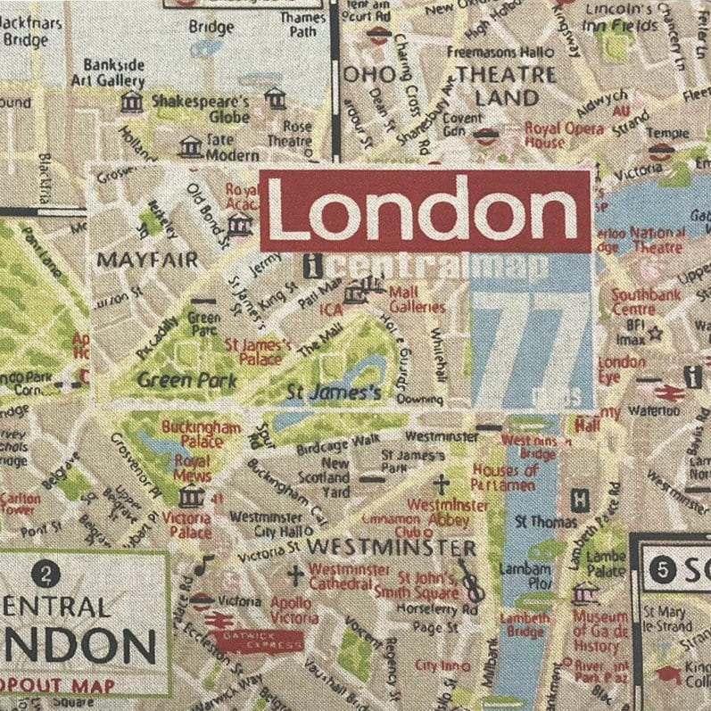 London Map Central.Central London Map Cushion Crate Lid 505x305x60