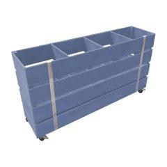 kingscote blue Mobile painted 4 Bin Impulse Merchandise Display Stand 1200x300x640