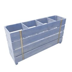 kingscote blue painted 4 Bin Impulse Merchandise Display Stand 1200x300x640