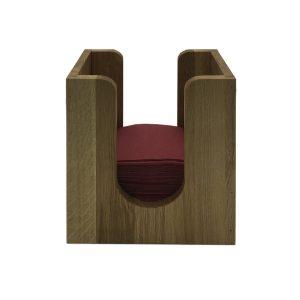 oak napkin dispenser 225x132x240 with napkins front view