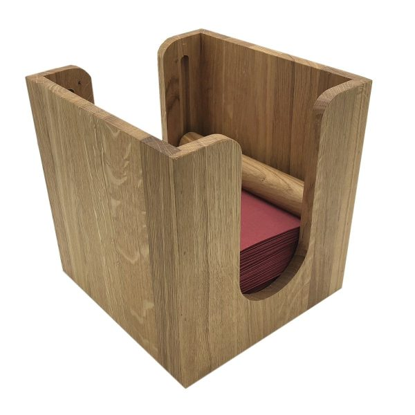 Oak Napkin Dispenser with Rollers 225x236x240