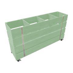 tetbury green Mobile painted 4 Bin Impulse Merchandise Display Stand 1200x300x640