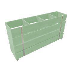 Static tetbury green painted 4 Bin Impulse Merchandise Display Stand 1200x300x640