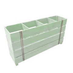 tetbury green painted 4 Bin Impulse Merchandise Display Stand 1200x300x640