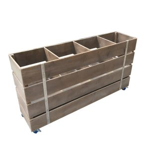 weathered mobile rustic 4 Bin Impulse Merchandise Display Stand 1200x300x670