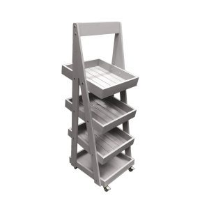 Mobile Gretton Grey Painted 4-Tier Slanted Wooden A-Frame Display Stand 486x530x1455