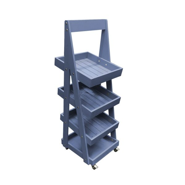 Kingscote Blue Mobile Painted 4-Tier Slanted Wooden A-Frame Display Stand 486x530x1455