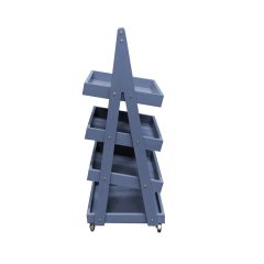 Mobile Kingscote Blue Painted 4-Tier Slanted Wooden A-Frame Display Stand 486x530x1455 Side View