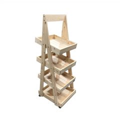 Mobile Natural Rustic 4-Tier Slanted Wooden A-Frame Display Stand 486x530x1455