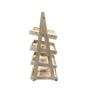 Mobile Natural Rustic 4-Tier Slanted Wooden A-Frame Display Stand 486x530x1455 side view
