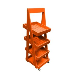 Mobile Orange Painted 4-Tier Slanted Wooden A-Frame Display Stand 486x530x1455