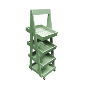 Mobile Tetbury Green Painted 4-Tier Slanted Wooden A-Frame Display Stand 486x530x1455
