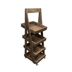 Mobile rustic brown Rustic 4-Tier Slanted Wooden A-Frame Display Stand 486x530x1455